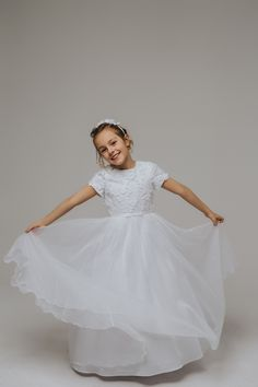 Communion Dress by La Petite Lucy from Dream Collection Girls Dresses, Flower Girl Dresses, Communion Dresses, Wedding Dresses, Flowers, Collection, Fashion, Dresses Of Girls, Bride Dresses