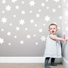 49 White Stars Wall Decals Repostionable by WallDressedUp on Etsy stars instead of dots on ceiling?