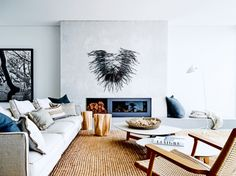 Fireplace inspiration from the Vogue Living archives: Pairing the modern style of the fireplace with the rustic quality of displaying wood alongside adds to the comfortable feeling of this room in a Sydney beachside bungalow. Vogue Living, Coastal Living Rooms, Home And Living, Design Living Room, Beach Bungalows, Family Room Decorating, Decorating Ideas, Decor Ideas, Beach House Decor