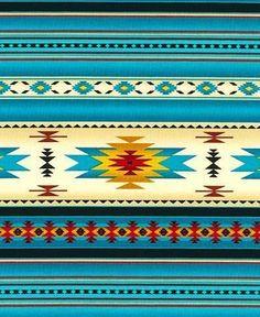 yards NATIVE AMERICAN INDIAN BLANKET FABRIC TURQUOISE BEAUTIFUL