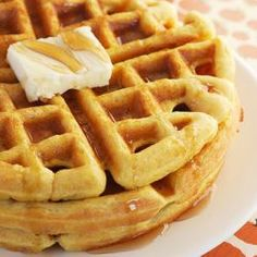 Pumpkin Waffles Ingredients 2⅓ cups Bisquick mix (or other baking mix) 1½ cups milk ½ cup canned pumpkin ¼ cup vegetable oil 2 tablespoons packed brown sugar 1 teaspoon cinnamon 2 eggs  I substitutes gluten free baking mix, and added a little maple extract! DELICIOUS! :)