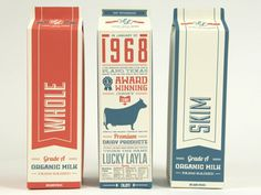 Creative Type-centric Milk Package Design  --- Again, a great retro feel for modern package design. It is laid out in a clear and readable way and easy to understand. Nice colors as well, especially when it comes to milk.