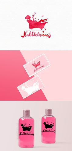 Branding for sale! www.One-Giraphe.com #logo #logodesign #graphic #graphicdesign #cosmetics #cosmetic #packaging #pink #bubble #art #watercolor #feminine #girly