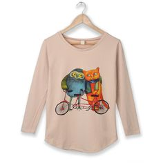 Apricot Owl Bike Round Neck Long Sleeve Curved Hem T-shirt ($31) ❤ liked on Polyvore