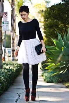 6298f0842 white skirt black stockings - Google Search Vintage Tuxedo