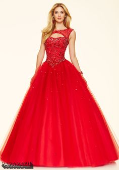 Prom dresses by Paparazzi Prom Jeweled Beading on a Tulle Ball Gown Corset Back Closure. Colors Available: Scuba Blue, Scarlet