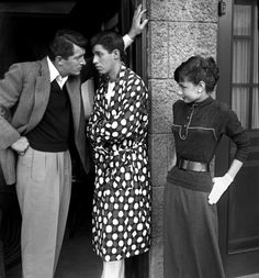 Dean Martin and Jerry Lewis entertain Audrey Hepburn on the Paramount lot, 1954. Photograph by Bob Willoughby.