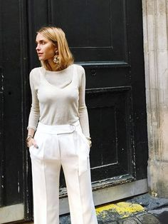 Wide Leg and Statement Earrings | Street Style #StreetStyle