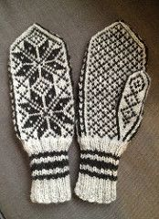 It´s originaly an old norwegian pattern for selbu socks my granny used to knit, but I transformed it to mittens.
