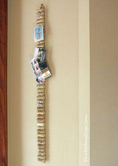 Yardstick with corks glued on to make a long skinny memo board. Or make multiples.