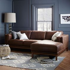 When this sectional comes in fabric, I will get it!!! Dekalb Leather 2-Piece Chaise Sectional | West Elm