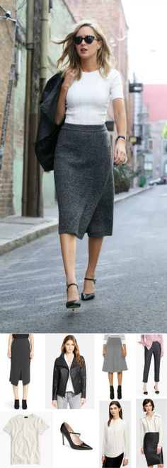grey knit pencil skirt, short sleeve sweater + leather jack // this look for less + all of my cyber monday sale picks!!