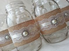 Mason Jar Centerpiece - Burlap and Lace