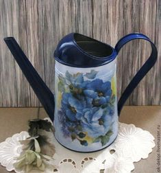 Купить Лейка Цветы в синих тонах - лейка, лейка для полива цветов, лейка декупаж, синий