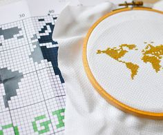 Cross stich counted stitching pattern instant download modern guide gobelin stitching picture embroidery hoop ebook - WORLD GO GREEN on Etsy, $4.56 AUD