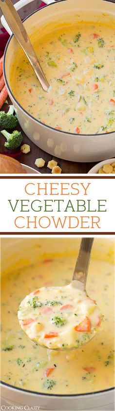 Cheesy Vegetable Chowder - Adding this to the rotation, LOVED it! Like broccoli cheese soup meets creamy potato soup. #soup #delicious #recipe #lunch #recipes