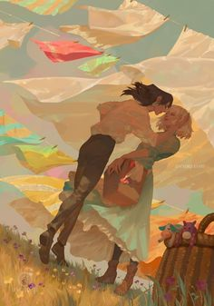 Howl's moving Castel - Howl x Sophie, Studio Ghibli Film Anime, Art Anime, Anime Kunst, Studio Ghibli Films, Art Studio Ghibli, Fan Art, Howl And Sophie, Art Et Illustration, Hayao Miyazaki