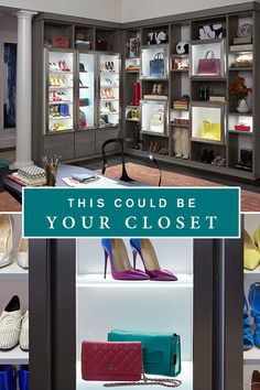 Perfect walk-in space for fashion bloggers! A fresh and modern color palette with accent cubbies and dramatic lighting showcases your wardrobe and accessories collection.