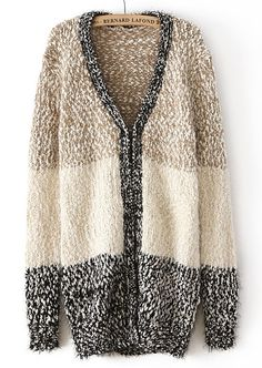 Khaki V Neck Long Sleeve Metallic Yoke Cardigan - Sheinside.com