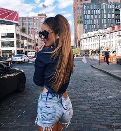 top high ponytail | long hair style | with hair extensions | blonde honey brown