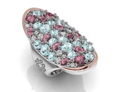 925 Sterling Silver Ring 18k. Gold, Rhodolites, Blue and White Topaz. #bohemme #jewelry #ring #caviar #style #fashion #topaz #gold