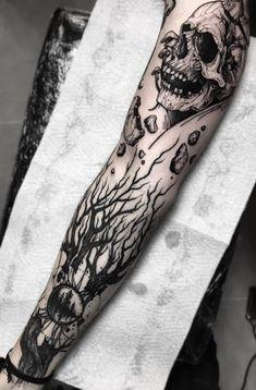Skeleton Tattoos, Skull Tattoos, Sleeve Tattoos, Left Arm Tattoos, Forearm Band Tattoos, Trendy Tattoos, Cute Tattoos, Skull Tattoo Design, Tattoo Designs