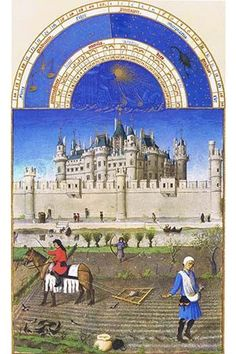 Tilling and sowing are being carried out by the peasants, in the shadow of the Louvre - Charles V's royal palace in Paris