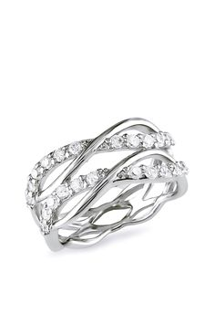 Sterling Silver CZ Tiered Crisscross Ring