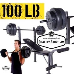 Weight Bench Set Cap Barbell Deluxe With 100 Lb Weights Lifting Press Bar Home Ebay