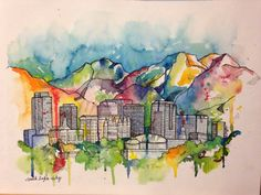 Salt Lake Cityscape- Giclee print on watercolor paper on Etsy, $25.00