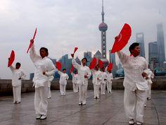Shanghai: Taiji practitioners by the Bund #ChinaFromAbove #NatGeoChannelGR