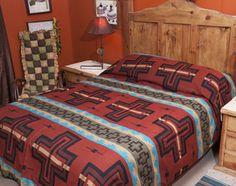 Southwestern Woven Rust Bedspread