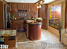 Gas-Powered Luxury Class A RV with Island Kitchen, Bar, & Wine Rack 37 foot. to 38 foot Class A Motorhomes