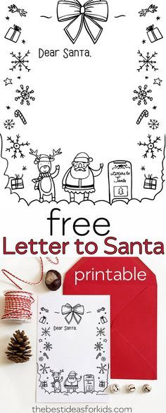 Free Letter To Santa Printable Coloring Page This Is Perfect For Kids To Write A Letter To Santa And T Santa Letter Template Santa Letter Printable Lettering