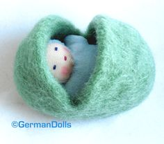 Waldorf style baby in felted egg