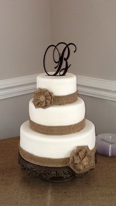 burlap wedding cakes | burlap wedding cake burlap ribbon with handmade burlap flower accents