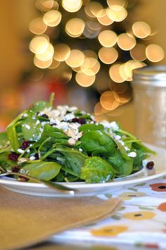 Spinach Salad with Gorgonzola, Cranberries, Almonds and Honey Garlic Vinaigrette
