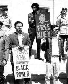 black history month. yellow peril, brown berets, and black panthers protesting outside a courthouse where huey p. newton was being tried. a beautiful example of different cultures coming together for change.