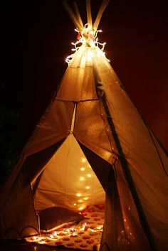 i think everyone would dream sweeter dreams with one of these babies. #tent #fort #lights #teepee