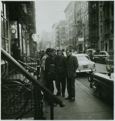 Peter Orlovsky, Allen Ginsberg and friends outside of Kettle of Fish on MacDougal Street NY City