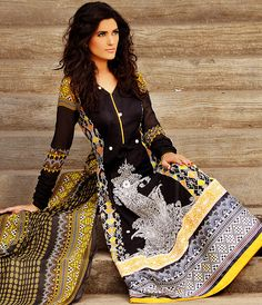 Black Long Salwar Kameez From Pakistan with Embroidered Panel and Silk Border