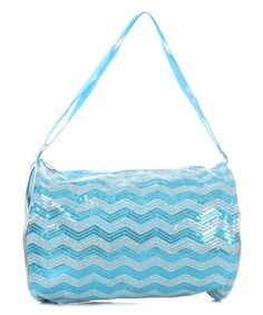 Another great find on #zulily! Turqupise Chevron Sequin Duffel Bag #zulilyfinds
