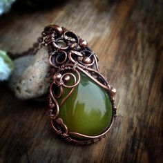 Green  agate pendant  Wire wrapped Jewelry by ChervoniKoraliArt