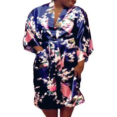 Floral Satin Womens Plus Size Robes, Sizes Lightweight Sleepwear Robe Kimono, Knee Length. Men's Fashion, Fashion Dresses, Curvy Fashion, Maxi Dresses, Plus Size Dresses, Plus Size Outfits, Plus Size Robes, Satin, Plus Size Lingerie