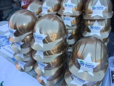 Some of the gold construction hats worn by the Broadway Builds Volunteers #HabitatNYC #Volunteer Learn more about Habitat NYC at Habitatnyc.org