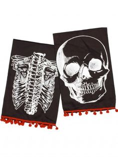 """X-Ray Skeleton"" Tea Towel Set by Sourpuss Clothing (Black/White)"