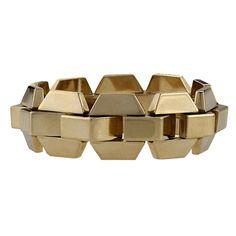 European Retro Pink Gold Tank Track Bracelet | From a unique collection of vintage retro bracelets at https://www.1stdibs.com/jewelry/bracelets/retro-bracelets/