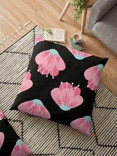 """""""Pink Flower"""" Floor Pillow by Floor Pillows, Throw Pillows, Sell Your Art, Pillow Design, Flower Patterns, Pink Flowers, Cushions, Flooring, Prints"""