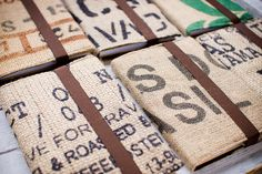 Coffee sack notebook journal  recycled handmade A5 by PRESSOdesign, $19.50 // Interesting!