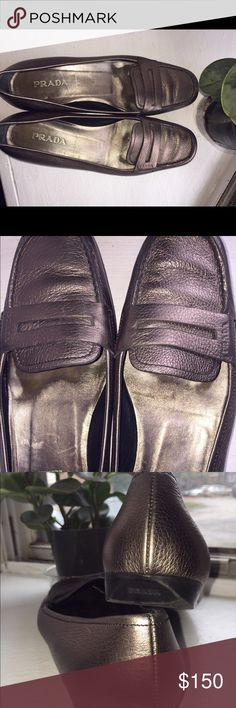Loafers Vintage metallic bronze color loafer. Very little marks. Shoe is in perfect condition. Very comfortable also. Very rare to find. **No Trades, Sorry*** Prada Shoes Flats & Loafers
